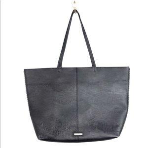 Rebecca Minkoff Black Leather Whipstitch Tote Bag